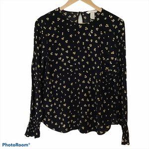 H & M Long Sleeve Black Blouse Size 4